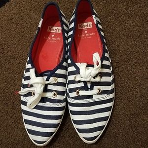 Kate Spade striped navy white orange keds.Size 8.5
